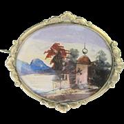 Antique Pinchbeck Russian Georgian Watercolor Scene Pin