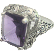 SALE CLEARANCE ..Antique Sterling Victorian 4.5ct Amethyst Filigree Ring