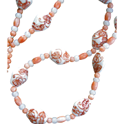 SALE LAST CHANCE...Vintage Chinese Natural Angel Skin Coral and Porcelain Bead Necklace