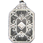 Antique Victorian Sterling Camphor Glass with Diamond Pendant Charm