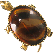 Large Vintage Gold Plated Faux Tortoise Shell Turtle Pin