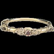 Antique Victorian 10 kt Garnet Hinged Bangle Bracelet