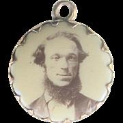 Antique Victorian 10kt Porcelain Portrait Charm Pendant