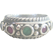Vintage 1ct Ruby and Emerald Stackable Sterling Ring