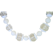 SALE VALENTINE'S..Vintage Miriam Haskell Lucite and Glass 19.5mm Bead Necklace