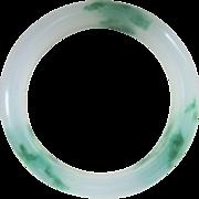 Vintage Chinese Translucent Green White Jade Bangle Bracelet