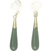 Vintage Chinese Spinach Green Jade Gold Filled Drop Earrings