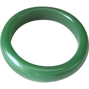 Vintage Opaque Chinese Green Jade Bangle Bracelet