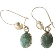 Antique 10kt Victorian Green Turquoise Drop Earrings