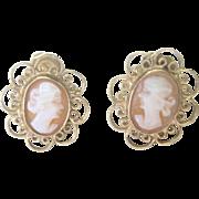 Vintage Cameo 10kt Filigree Stud Earrings