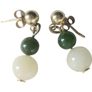 SALE LAST CHANCE..Vintage 14kt Gold White and Green Jade Ball Earrings