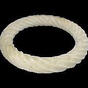 Vintage Craved Twisted Rope Motif White Jade Bangle Bracelet
