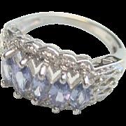 Vintage 14 kt White Gold 1.35ct Tanzanite Diamond Wedding Ring