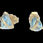 Vintage 14kt Aquamarine (1ct) Stud Earrings