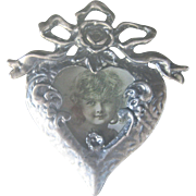 Vintage Victorian Revival Bow Heart Photo Pewter Pin