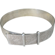 Antique English Victorian 1864 Sterling Buckle Bangle Bracelet