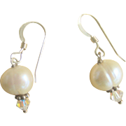 Vintage Sterling Freshwater Cultured Pearl Crystal Earrings