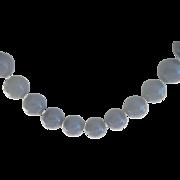 Vintage Huge Lapis 14mm Bead Sterling  Necklace