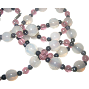 Vintage Art Deco Sterling Pink Tourmaline, Black Onyx, and White Chalcedony Necklace