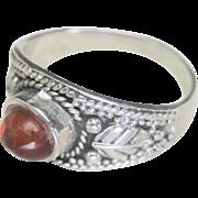 Vintage Natural Amber Sterling Band Ring