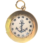 Antique 10kt Victorian Bubble Crystal Reverse Painted Anchor Charm Locket