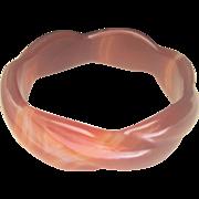 SALE SUMMER..Vintage Scalloped Banded Agate Bangle Bracelet