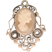 Antique Victorian Hand Crafted Sterling Cameo Charm