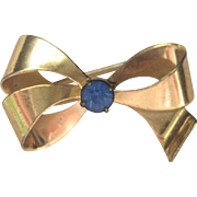 Vintage Retro 1940's Sterling Gold Plated Bow Pin