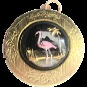 Vintage Large Art Deco 10 kt Reverse Painted Flamingo Locket