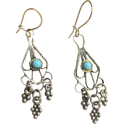 Antique Victorian Sterling 10kt Persian Turquoise Earrings