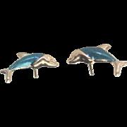 Vintage 10kt Enamel Dolphin Stud Earrings