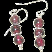 Vintage Sterling Garnet Drop Earrings