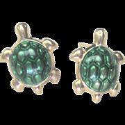 Vintage 10kt Enamel Turtle Stud Earrings