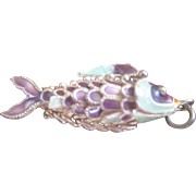 Vintage Chinese Sterling Articulating Enamel Fish Charm