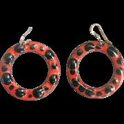 Fabulous Vintage Sterling Enamel over Copper Large Hoop Earrings