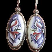 "Antique Victorian  ""Peinture Sur Email"" Sterling Earrings"