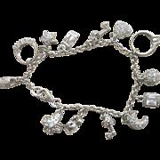 Vintage Sterling Crystal 13 Charms Bracelet