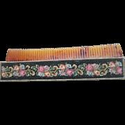 Vintage Wool Petite Point Retractable Purse Comb