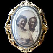 Antique Edwardian 10kt Bubble Glass Locket Pin
