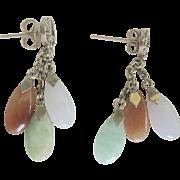 Vintage 14kt Dangling Jade Earrings