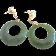 Vintage 14kt Spinach Jade Hoop Earrings