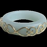 Vintage 14 kt Stackable Wedding Band Agate Ring