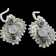 Vintage Sterling Moonstone Garnet Earrings