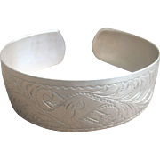 Antique Victorian Sterling 3/4'' Wide Cuff Bracelet