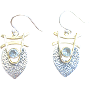 Vintage 9kt Yellow and White Aquamarine Earrings