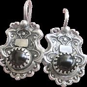 Antique Victorian Sterling Garnet Shield Earrings