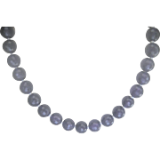 SALE MID SUMMER..Vintage Sterling 375 cts. Faceted Amethyst Bead (11.75mm) Necklace