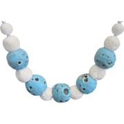 Vintage Natural Untreated Blue and White Coral Necklace