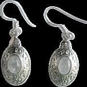 Vintage Sterling Moonstone Drop Earrings