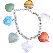 Vintage Sterling Multi Gemstone Heart Charm Bracelet